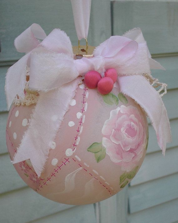 Christmas Ornament Hand Painted Pink Rose Patchwork with Shabby Chic Vintage Crochet