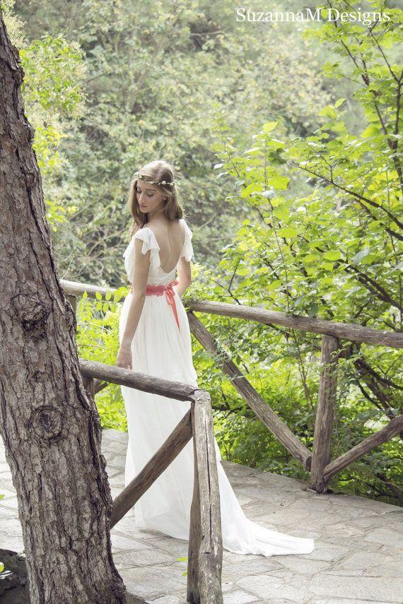 Open Back Wedding Dress SuzannaM Ivory Wedding von SuzannaMDesigns