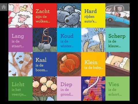 Zacht zijn de wolken, begrippenversjes, woordenschat, app voor iPad bij gelijknamig boek.