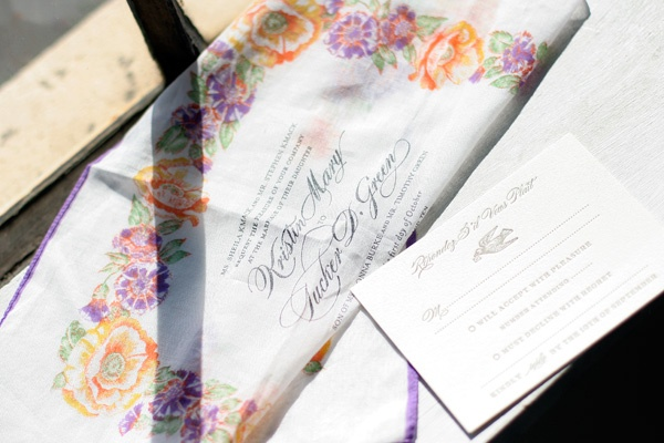 adorable English Waltz letterpress reply cards and hankerchief invitations