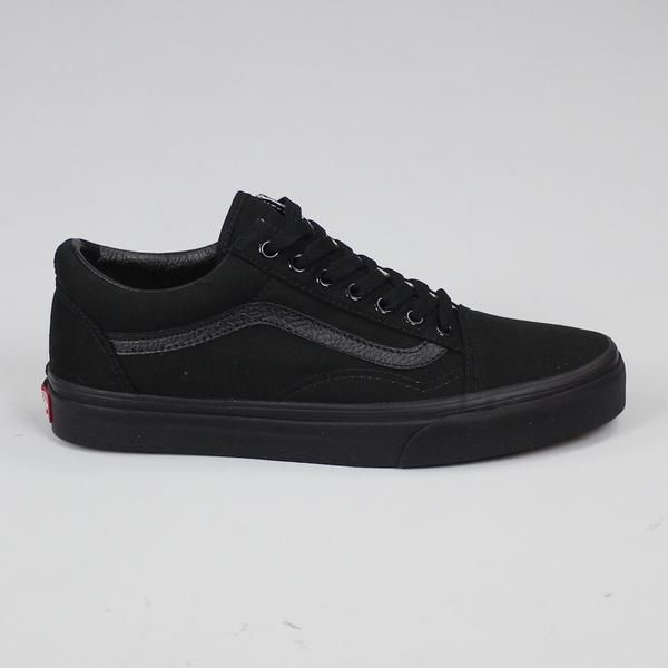 Vans Men's Old Skool Classics Black Trainers: Old Skool Classics in Black/Black from Vans This is true classic, constantly reordering this one and realistically, skaters, streetwear fans and anyone who likes their feet will be buying these in a 100 years. Canvas upper with leather speed stripe, rubber soles all in black monochrome!