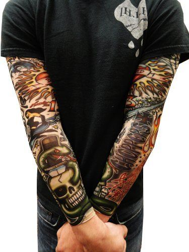 """Tattoo Sleeves - Vintage Rockabilly Fake Tattoo Sleeves (Pair) #37 by BeWild. $9.99. Tattoo Sleeves - Vintage Rockabilly Fake Tattoo Sleeves (Pair). Hot new amazing item, temporary slip on body art. Amaze your boss, your wife, your friends with our new temporary tattoo sleeves. Now you can get """"inked"""" by night and still keep your day job with our amazingly cool """"tattoo sleeves"""" the tattoo is printed directly on the sleeves fabric which is a machine washable nylon...."""
