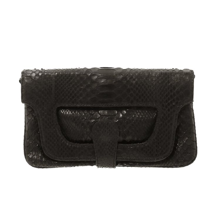 Bona Python Clutch - Black:  This handmade clutch is made with super soft python skin featuring an innovative handle flap that opens for daytime use and closes securely with hidden magnets for a more elegant evening look.  Inside, there are six separate pockets to keep you super organized.  Made with an interior lining of both python and brightly colored suede.   Also included is a removable chain for wearing on the shoulder or wrist.