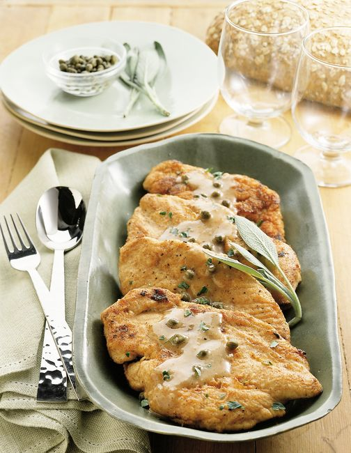 You can quickly doll up lean chicken breast with this recipe by the Lose Weight the Smart Low-Carb WayCookbook.Chicken is lightly coated in flour and sage then pan-fried to a delicious golden-br...