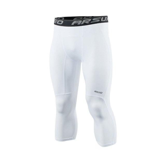 Mens Compression Tights 3//4 Pants Cropped Fitness Gym Athletic Capri Base Layers