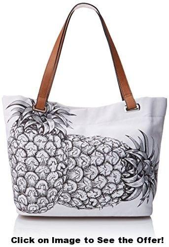 Emilie M. Aimee Canvas Tote Handbag, White, One Size