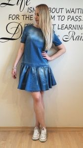 Jeansowa sukienka z falbanką by o la la