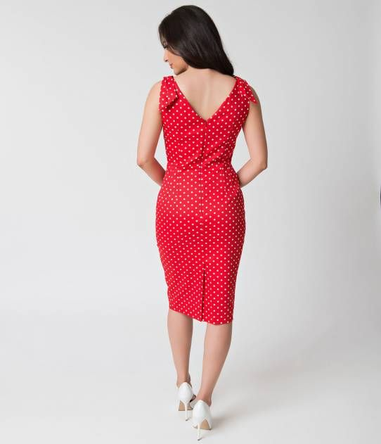 The Pretty Dress Company 1950s Red & White Dot Ava Wiggle Dress