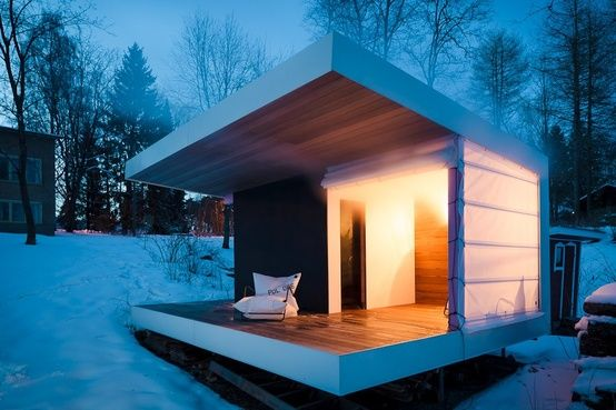 """7.5 m2 """"rantasauna"""" (sauna by the lake) in Finland by ALA Architects; photo by Tuomas Uusheimo"""