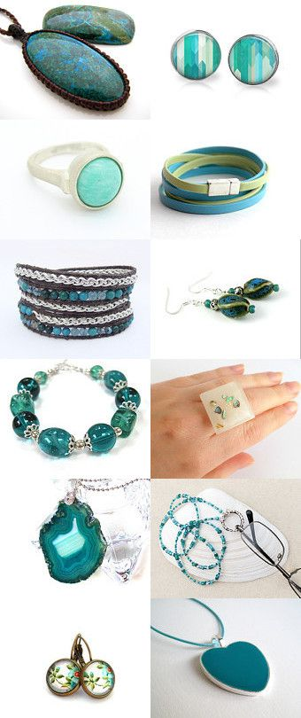 Beautiful blue and green jewelry by Paula Gluck on Etsy--Pinned with TreasuryPin.com