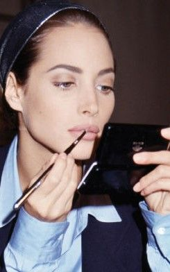 Christy Turlington, back stage at Karl Lagerfeld, 1991