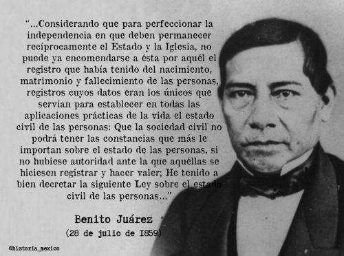28 de julio de 1859 : Se decreta la Ley Orgánica del Registro Civil  http://biblio.juridicas.unam.mx/libros/2/999/37.pdf