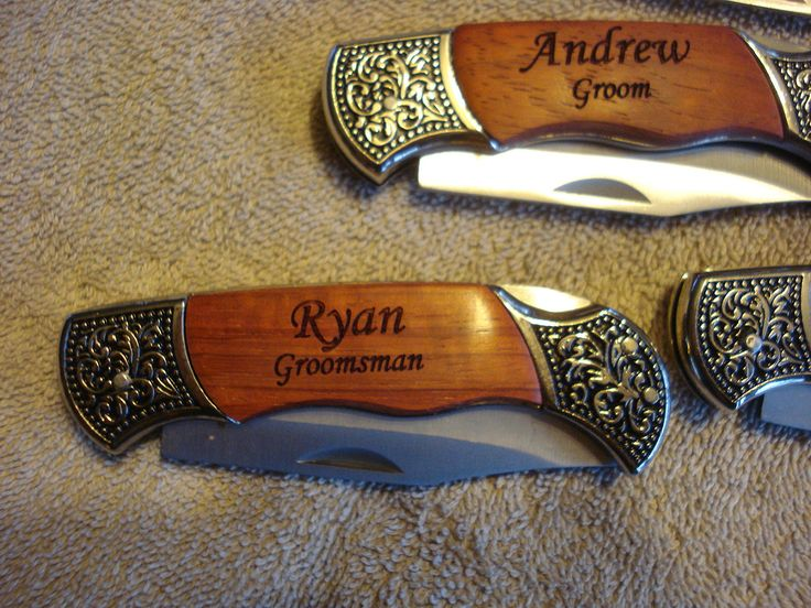4 Personalized Engraved Pocket Knives. Perfect gifts for Best Man, Groomsman, Wedding Favor or Wedding Keepsake.