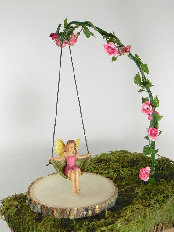 Fairy Garden Accessories Miniature Swing With Artificial Rose Garland    Fairy Accessory   Fairy Playground