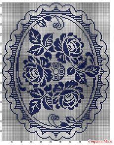 Филейное вязание крючком, схемы мотивы из цветов, роз. - Салфеточки - Страна Мам