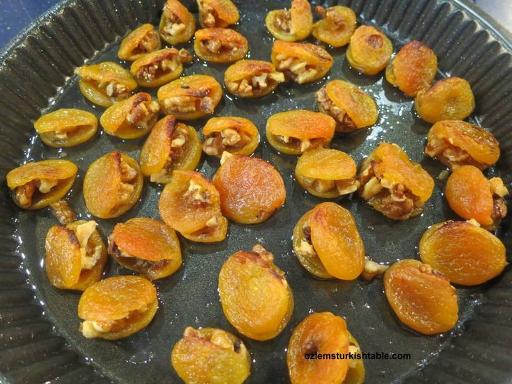 Baked  caramalised dried apricots with walnuts, Cevizli Kuru Kayisi Tatlisi, a wholesome, delicious and easy dessert