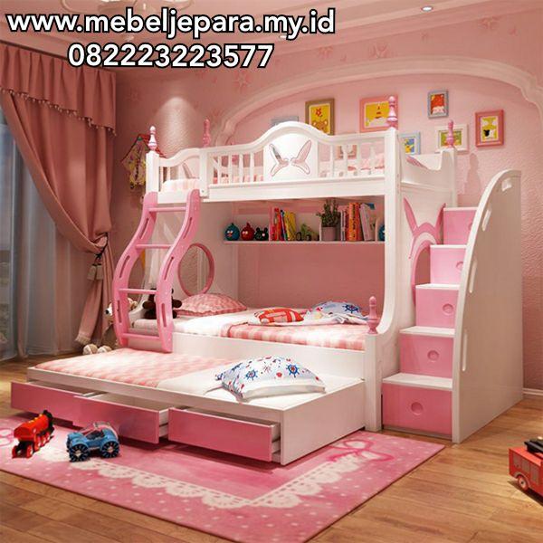 Tempat Tidur Tingkat Minimalis Modern Murah Buatan Asli Mebel Jepara Dengan Bahan Kayu Mahoni Berserat Halu Tempat Tidur Tingkat Tempat Tidur Anak Tempat Tidur Pink luxury unicorn room kamar
