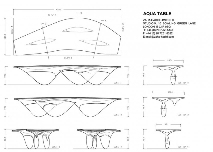 zaha hadid aqua table inspiration for draping