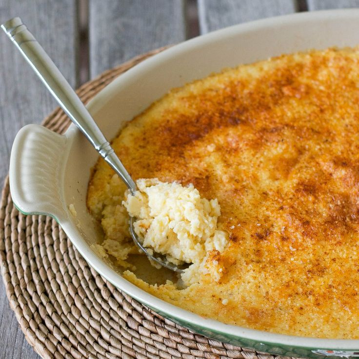 """Stone Ground Grits & Cheese Casserole  Notes: more cheddar, less butter, needs more """"kick"""""""