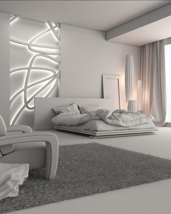 Футуристический интерьер спальной выглядит очень привлекательно и очаровательно.