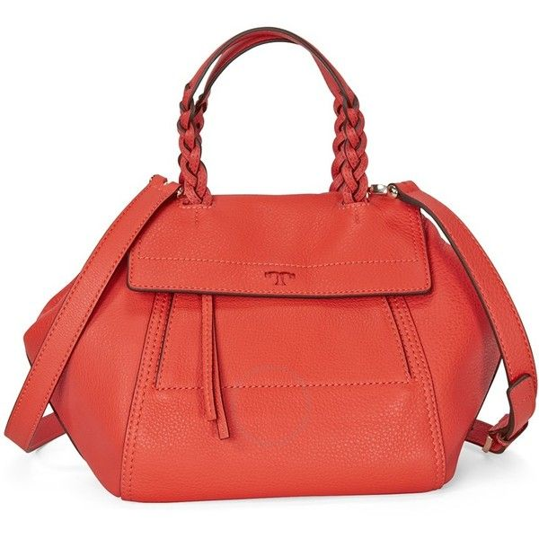 Tory Burch Half Moon Small Satchel- Smaba ($395) ❤ liked on Polyvore featuring bags, handbags, red purse, man satchel bag, hand bags, satchel hand bags and tory burch satchel