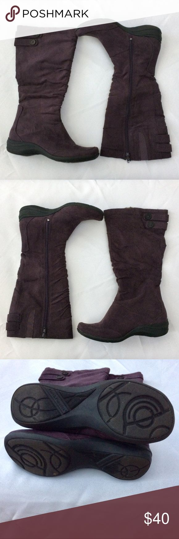 "💥NEW LISTING Hush Puppies Milieu Boot Size 9M💥 Hush Puppies Millieu women's boot size 9M.   Gorgeous eggplant color. Slouch side zip boot (zipper measures about 14"").   Two button design accent top of boots on back sides. Elastic on top of boots.   Fabric lined to provide just the right amount of warmth & comfort. Heel provides improved traction.   Shaft measures about 14"" from arch. Boot opening circumference 14.5. Heel Height about 1.5"". Block heel type.   All man made materials (feels…"