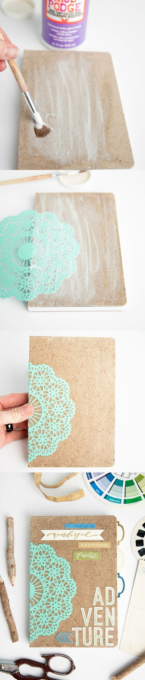 This adventure notebook tutorial is the perfect DIY gift idea for everyone from hostesses to teachers to kids! So simple to personalize the cover with Mod Podge. Great for school or for a planner!