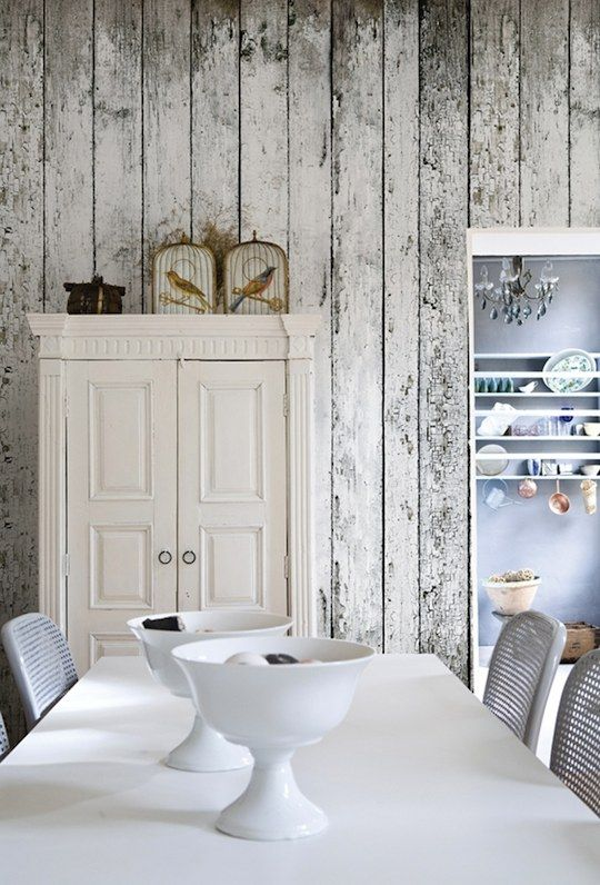 "this is WALLPAPER!!! I know a ton of you like the old rustic wood or ""barn"" look and this is so cool and easy!"