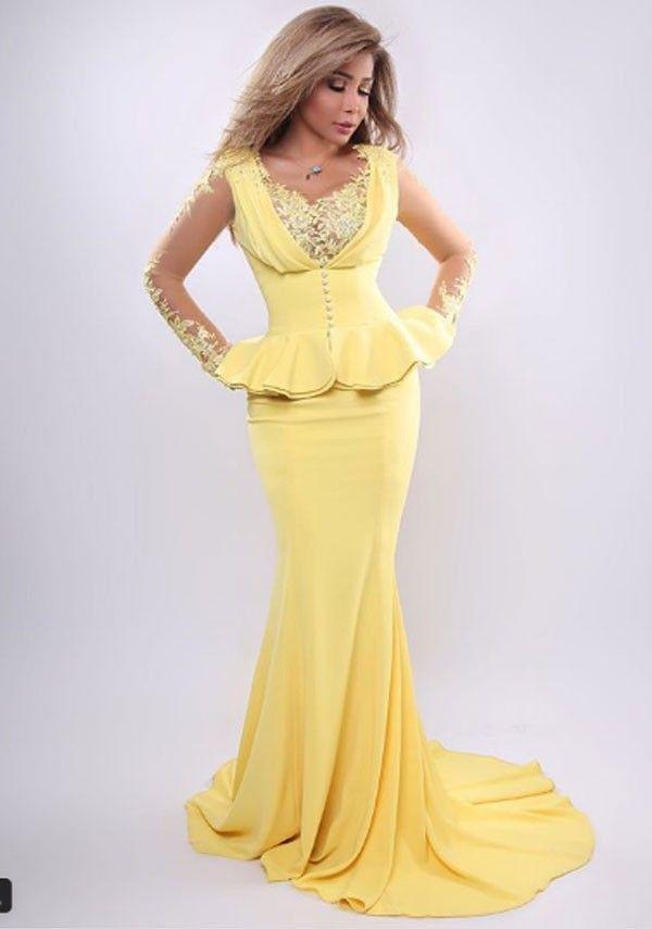 أروى تشع أناقة بفستان أصفر يبرز جمال قوامها صور بالبلدي Belbalady Fashion Formal Dresses Dresses