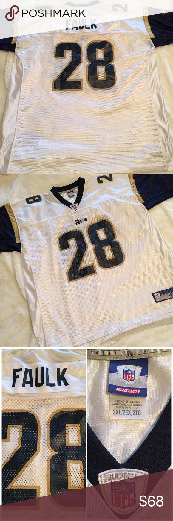 🆕 Retired Rams Marshall Faulk Football Jersey Men's St. Louis Rams Marshall Faulk football jersey. In excellent condition. Small amount of pilling around name on back. Easy fix. Size XXL. ❌NO TRADES ❌NO LOWBALLING❌ Reebok Shirts