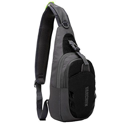 Tanchen Sling Bag Waterproof Sport Chest Pouch Gym Fanny Backpack Shoulder Crossbody Single Shoulder Bag Black ** Click on the image for additional details.