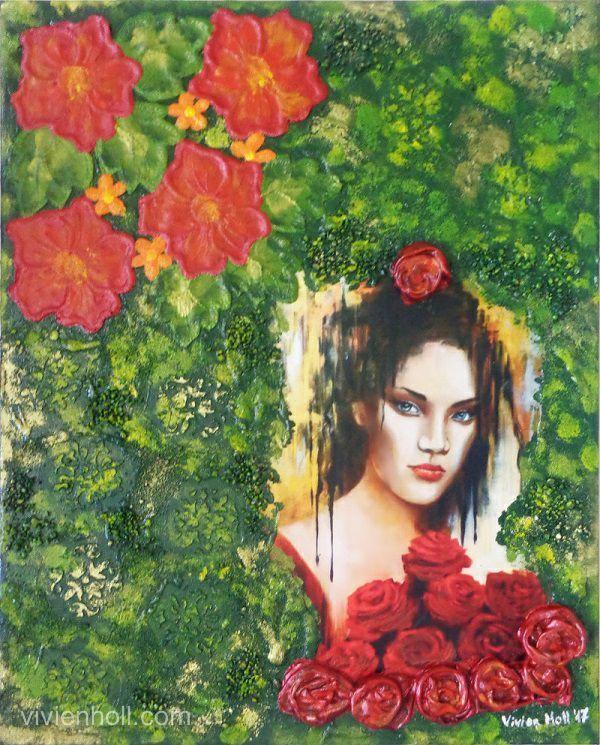 Red roses (Vörös rózsák) - Paverpol, 40 x 50 cm, 2017 http://www.vivienholl.com/en/portfolio-items/paverpol-red-roses/ #paverpol #roses #rózsák #lány #girl #rose
