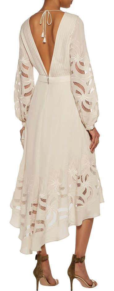 On SALE at 60% OFF! Do Right Open-back Tulle-paneled Silk Crepe De Chine Midi Dress by Haute Hippie. Haute Hippie ecru Do Right dress . Silk crepe de chine . Buttoned cuffs, pintucked bodice, open back, tassels, embroi...