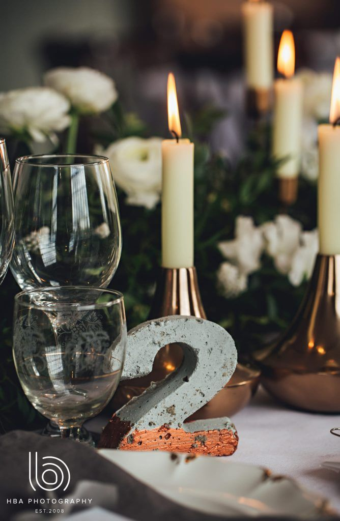 Concrete Table Numbers   Urban & Organic Industrial Wedding Inspiration - The West Mill - Exclusive, No Corkage Wedding Venue, Derbyshire   Images: HBA Photography
