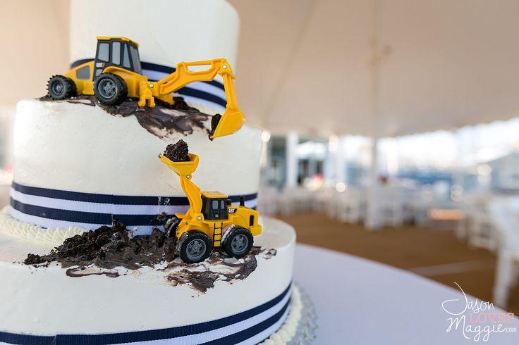 Construction Wedding Cake, wedding details. Photo by Jason Loves Maggie, Photographers. #weddingcake #weddingday #details #weddingphotography #connecticutwedding #construction #jasonlovesmaggie
