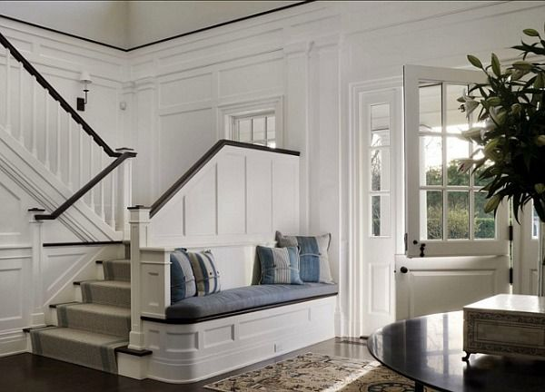 Beautiful entry hall with Dutch Door and built-in bench: A Classic Hamptons House on Further Lane Farm