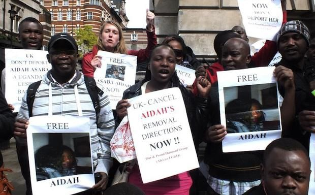 Out and Proud Diamond Group demonstrate against the deportation of Aidah Asaba. Credit: Demotix/Ruth Whitworth.