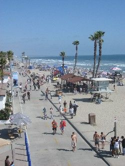 Oceanside CA has an endless beach that is perfect for strolling and people-watching: http://californiaweekend.com/california-vacation/oceanside.php#