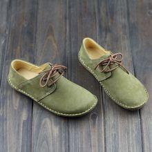 Mujeres plana Shoes hecho a mano 100% Genuine Leather Slip on zapatos de punta redonda Lace up Vintage verde Mori chica estilo ( 500680-2 )(China (Mainland))