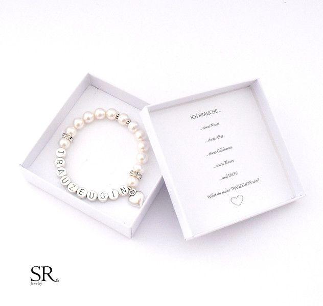 Accessoires - Armband Trauzeugin fragen Geschenk Hochzeit Perlen Herz Armkette Willst du meine Trauzeugin sein ivory creme Buchstaben silber Perlenarmband - ein Designerstück von sweetrosy bei DaWanda