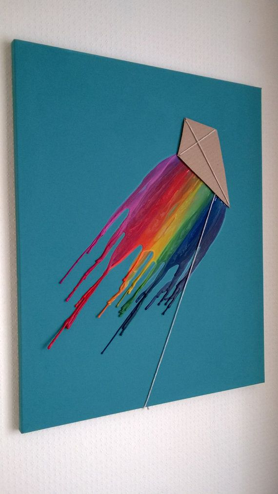 Kite Melted Wax Crayon Canvas Art 50 x 70 cm by Woollysaurus, £15.99