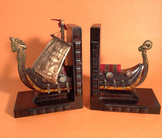 Fantastic Mid-Century Viking Bookends