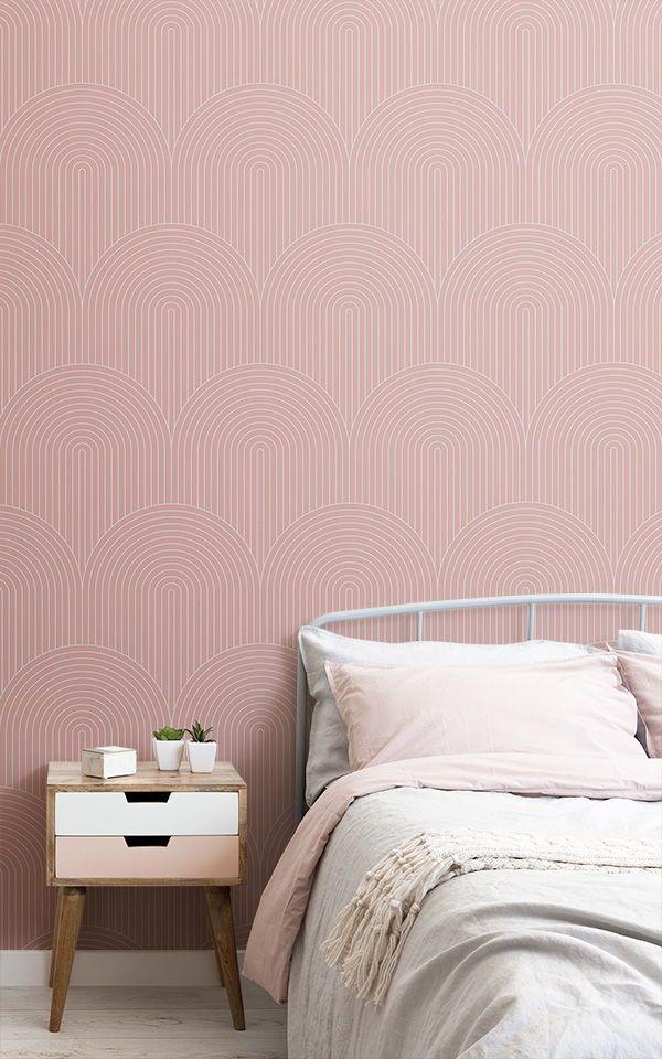 Pink Thin Striped Wallpaper Mural Muralswallpaper Apartment Decorating Rental Mural Wallpaper Striped Wallpaper