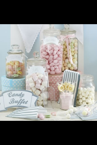 Soft and sweet pastel candy buffet