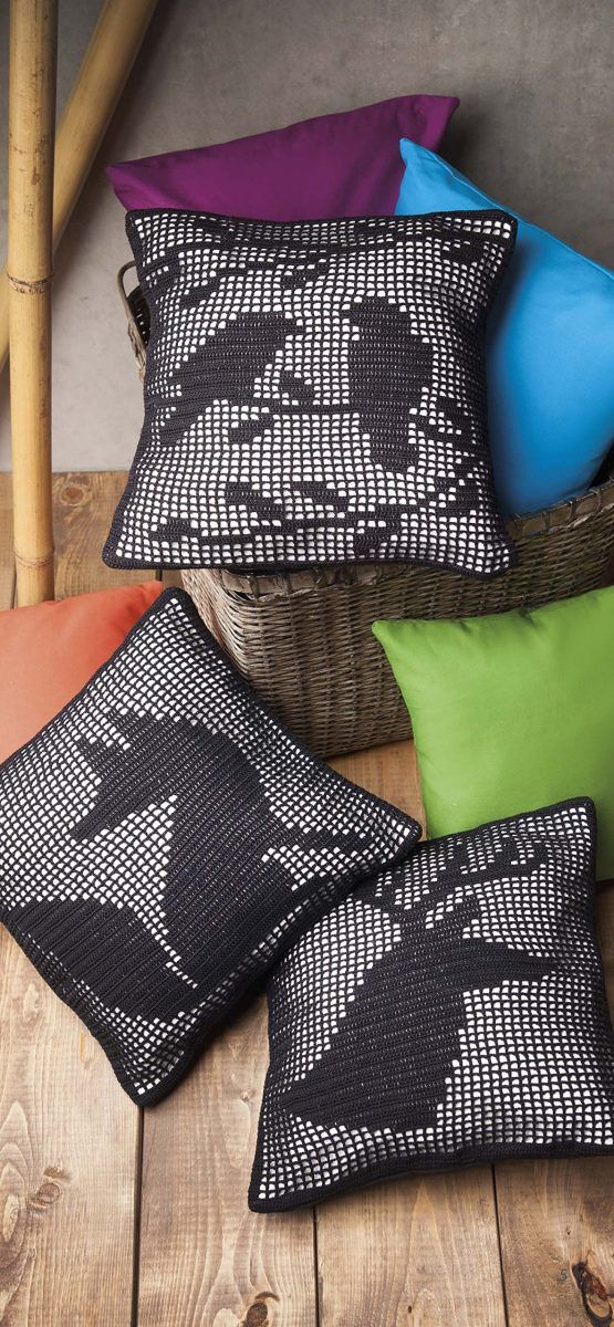 filet crochet cushions
