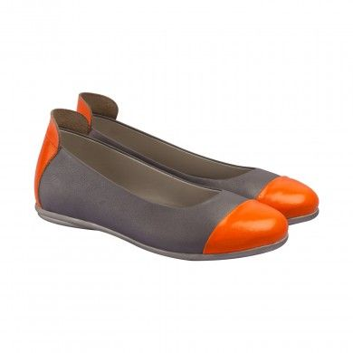 Neon Ballerinas - Orange   Made with fine grained soft Napa leather, these ballerinas are detailed with colorful and neon patent leather cap-toes and heel backs. The ballerinas are designed with matching antique metallic brush effect TPR outsoles, leather lining and memory foam cushioned insoles with fun silver polka dot print.