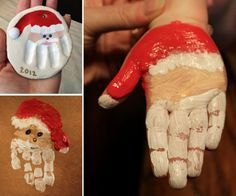 DIY Christmas Hand Print and Foot Print Art - http://theperfectdiy.com/diy-christmas-hand-print-and-foot-print-art/ #DIY                                                                                                                                                                                 More