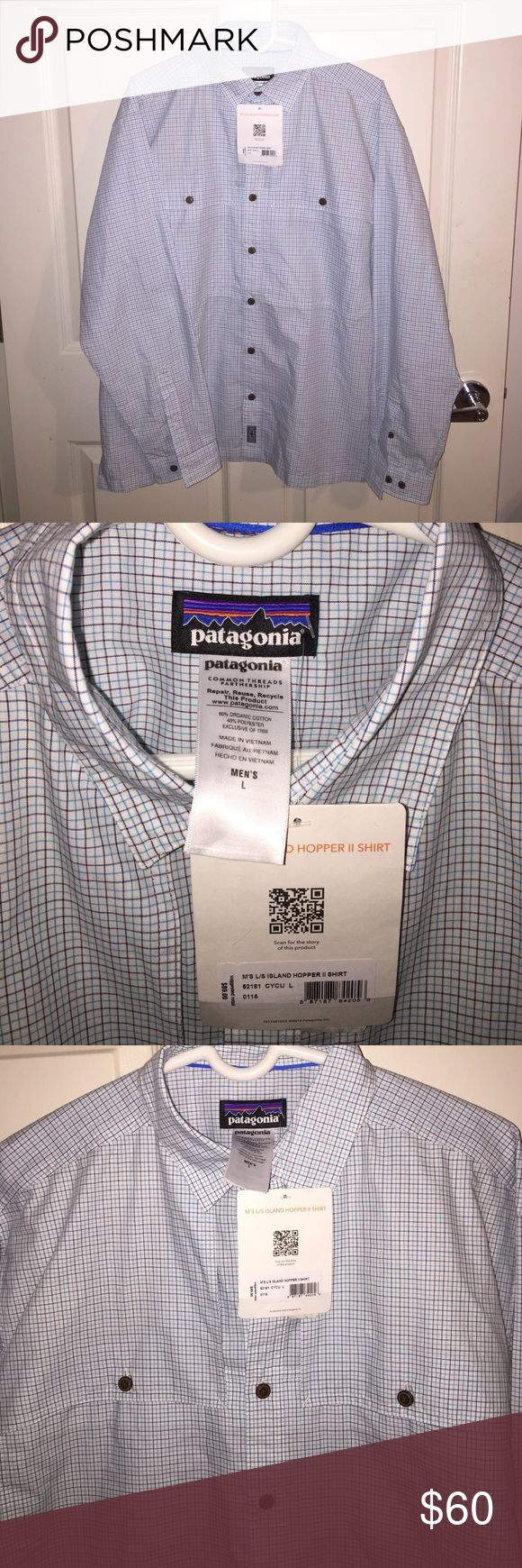 """Patagonia """"Island Hopper II Shirt"""" never worn Patagonia shirt size large, never worn white with blue lines Patagonia Shirts Casual Button Down Shirts"""