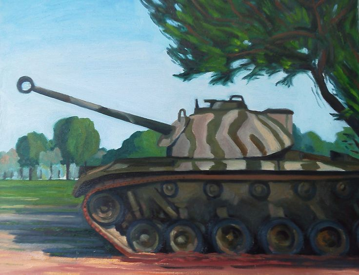 M48 Patton Tank Oil on Canvas Whittier Narrows Armor Museum