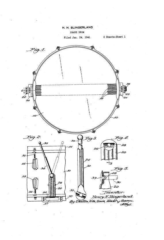 Slingerland Super Radio King Snare Drum 1930s Patent Art ...